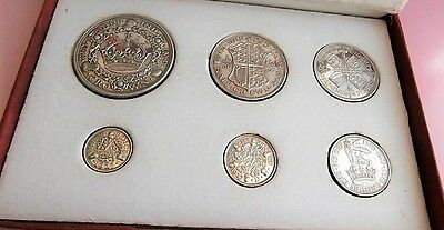 RARE 1927 George V Set Proof Coins Wreath Crown - 3d Boxed & Excellent Condition