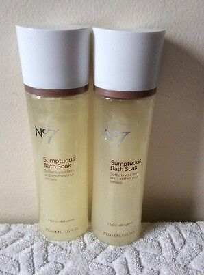 2 x Brand New Boots No.7 Sumptuous Bath Soak Hypo-allergenic 200ml