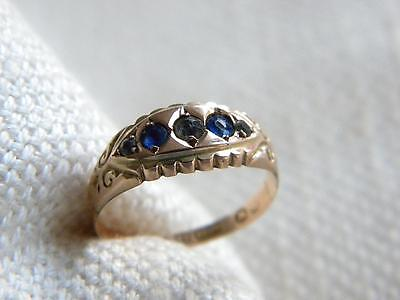 antique Victorian BLUE & Clear pastes set ring 9ct gold ~