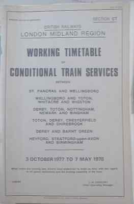 BR London Midland Region Working Freight Timetable Sect.CT 3/10/1977 - 7/5/1978