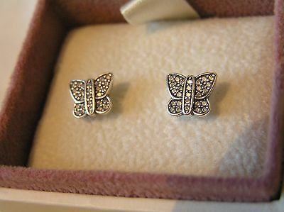 Sterling Silver Pave Butterfly Stud Earrings 290575CZ Pandora Box Option