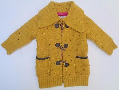 M&S Indigo Girls Amber Infant Winter Jacket Coat With Elbow Patches 12-18 Months