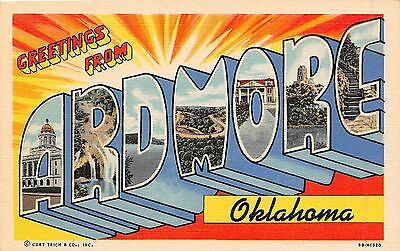 Large letter postcard Greetings from Ardmore Oklahoma