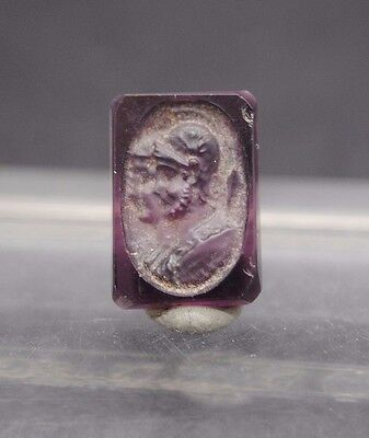 Antique Glass Intaglio From Ring Depicting A Roman Emperor