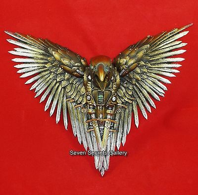 Sword Raven | Wall Plaque Ornament Steampunk Bronzed Art | NEW IN FREE UK POST