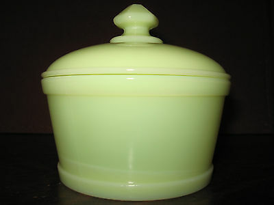 vaseline yellow milk Glass serving domed butter dish / tub uranium covered candy