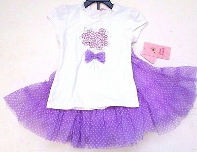 Jona Michelle Girls 2 Piece Set Embelished Top & Tutu Skirt 6 Years White Purple