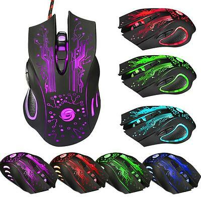 6 Button Adjustable DPI Wired PRO Gaming Mouse LED USB Optical For PC Laptop MAC