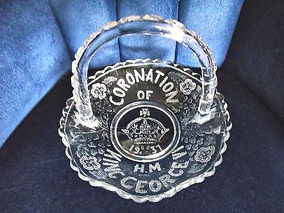 * 1937 CORONATION of KING GEORGE VI * GLASS BASKET *
