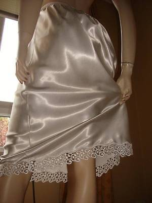 Vtg St Michael White High Gloss Satin & Lace Hem Half Slip Petticoat 16-18 (EU 4