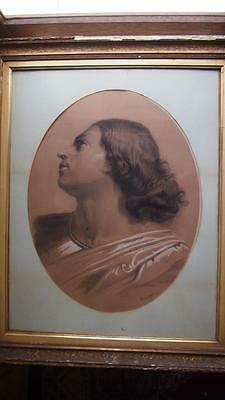 Large Charcoal Drawing - Signed E. M. Sargent - Lady Looking Upward (1880s)