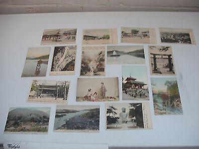lot of 16 hand tinted Topographical japan Japanese Postcards early 1900's stamps
