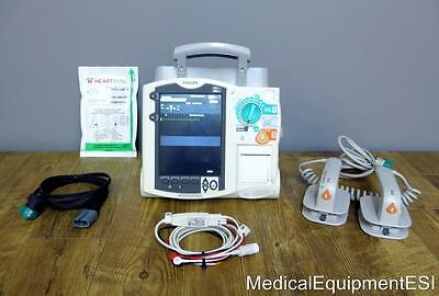 Philips Heartstart MRx Biphasic 3 Lead ECG Pacing Analyze M3535A Hard Paddles
