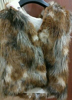 Next Girls mixed brown Faux Fur Gilet/Bodywarmer hooded 9 years winter jacket