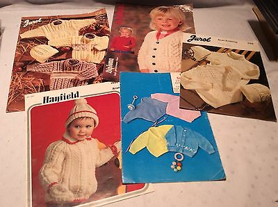 Job lot 5 children's baby's vintage knitting patterns