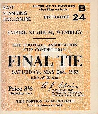 TICKET: FA CUP FINAL 1953: Blackpool v Bolton Wanderers - EXCELLENT