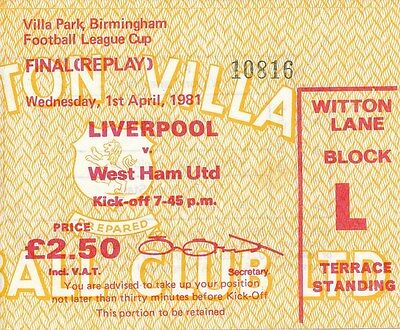 TICKET: LEAGUE CUP FINAL 1981 REPLAY Liverpool v West Ham - EXCELLENT