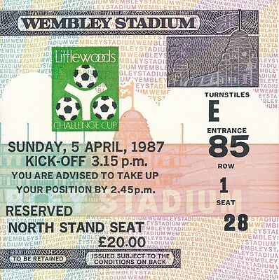 TICKET: LEAGUE CUP FINAL 1987 Arsenal v Liverpool - EXCELLENT