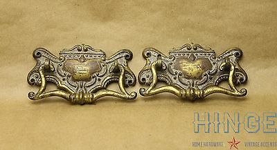 2 Antique, Very Old, Victorian, Cast Brass, Surface mounted, Bail Pulls Item456b