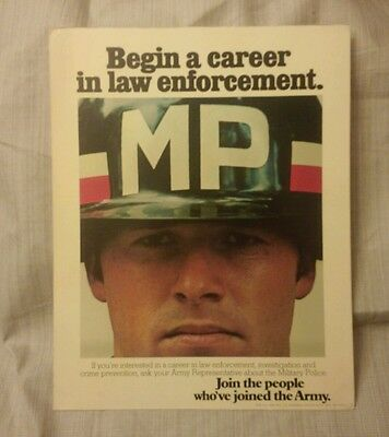 Vintage 1975 Army Recruiting Poster Sign 11 × 14 MP Military Police
