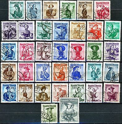 Austria 1948 Issues Complete Set of 36 Used Stamps Scott's 521 to 556