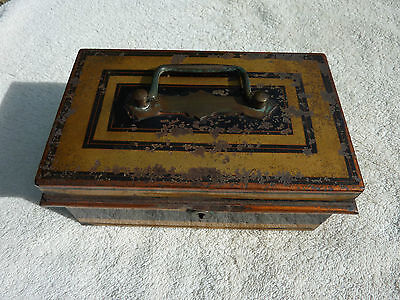 Heavy Duty Antique Cash Money Box Metal Safe Early 20th Century Shabby Chic Old