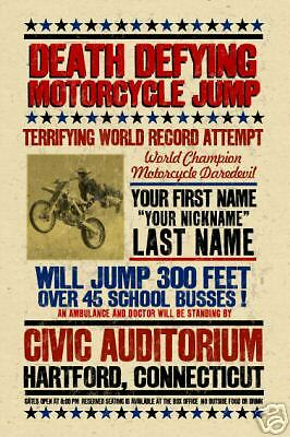 YOUR NAME on Motorcycle Jumping poster Personalized