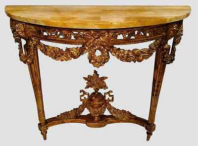 18th Century  ANTIQUE  French Wood GILT & Pierce CARVED MARBLE TOP CONSOLE
