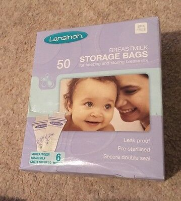 Lansinoh Breastmilk Storage Bags (50 Pieces) New And Sealed In The Box