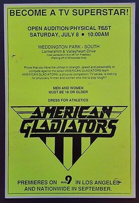 AMERICAN GLADIATORS Auditions Original Vintage Boxing Style TV Promo POSTER 1989