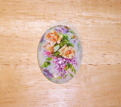 Yellow Roses Floral Glitter Unset Handmade Art Bubble Cameo Cabochon 30X40mm