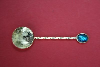 Boxed Tiny Spoon Bowl is a New Zealand 1948 3d Coin & Blue Green Stone on Handle