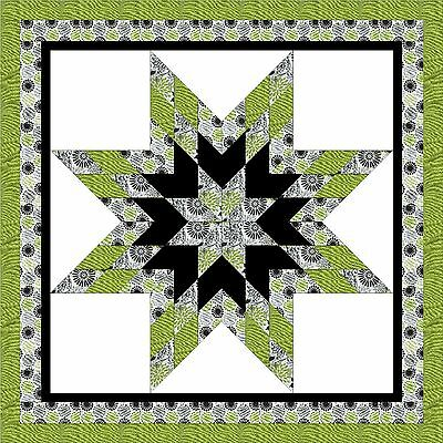 GIRLEY LIME STAR - Not Quilted, Machine Pieced, made in the USA
