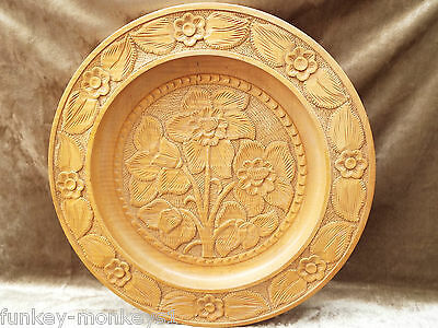 """Vintage Carved Wood Bowl Plate Floral Bread Serving Tray  16"""" dia"""