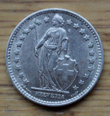 1959 Switzerland Silver 1 Franc Coin  -  Very Good