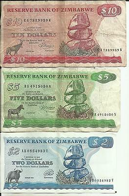 Zimbabwe Lot 3 Different Notes. Same In Scan . Very Scarce. 4Rw 29Nov