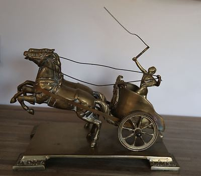 Vintage Brass Chariot - Charioteer and Horses