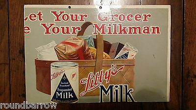 1920's Trade Shop Advertising Card Display- Libby's Milk Chicago Let Your Grocer