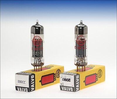 matched pair Valvo E80CC 6085 red label goldpin audio tube -  tested !