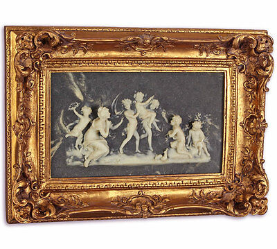 ALABASTER RELIEF in goldener RAHMUNG 'KINDERREIGEN' WANDBILD mit STUCK-RELIEF