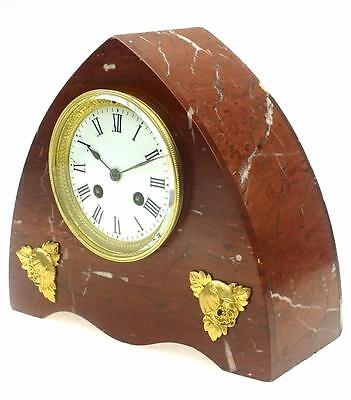 Amazing Antique Lancet French Red Marble Ormolu 8 Day Bell Striking Mantel Clock