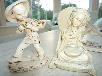 Group of ivory effect Chinese Oriental  figures figurines ornaments