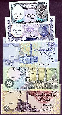 Egyptian Currency Notes 5, 10, 25, 50 Piastres & 1 Pound, Uncirculated. Lot # N1