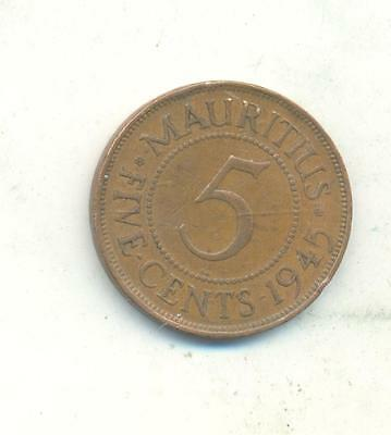 Very Nice Rare. Mauritius.5.cents.1945.very Collectable.q.125