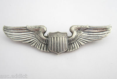 """WWII Era US Army Air Corps Pilot Wings 3"""" Unmarked Pinback"""