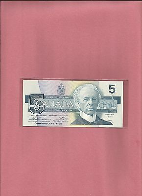 1986 Canada Bank Note - 5 Dollars  Unc & Crisp With Free Shipping