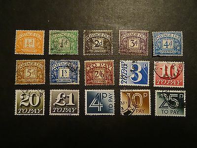 GB - MIXTURE OF 15 x DIFFERENT POSTAGE DUE STAMPS