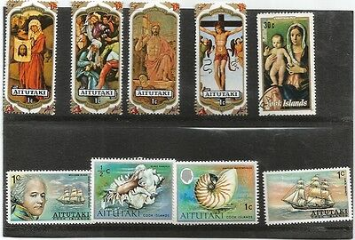 Cook Islands - Aitutaki selection 9 stamps 8 mounted mint 1 used