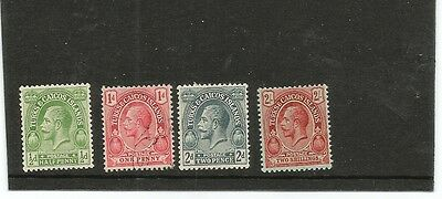 Turks & Caicos Islands GV 4 different values 1/2d, 1d, 2d, 2/- 1d used others mm