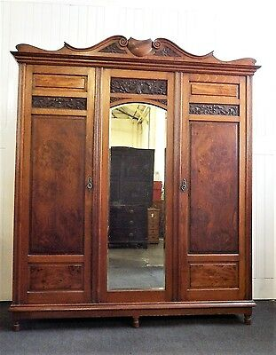 Beautiful Antique Victorian very large double carved Oak mirror door wardrobe